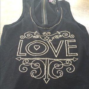 Lipstick women's love zipper sleeveless top large